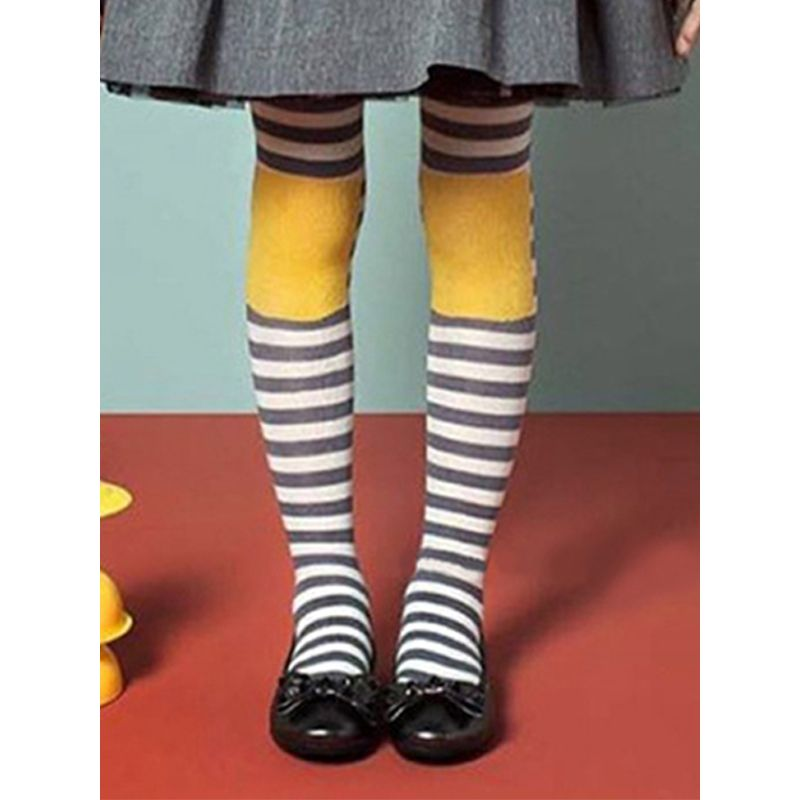 Dots Stripes Plaid Print Elastic Leggings Pantyhose Dance Wear for Toddlers Girls