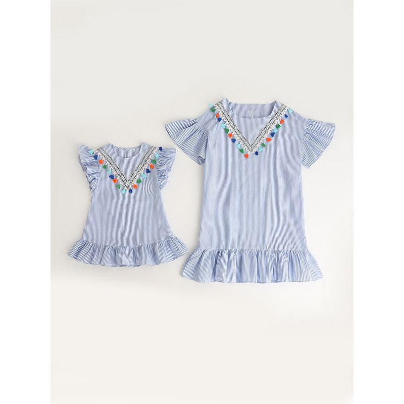 MOMMY AND ME Fringed Embroidery Striped Pleated Dress Flounced for Girls and Moms