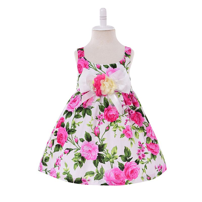 Short Sleeves Tropical Flowers Printed Appliqued Toddler Girl Dress