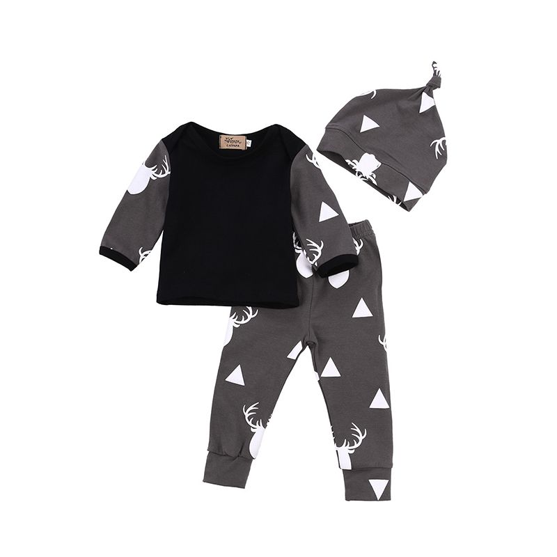 3-piece Deer Head Triangel Splicing Baby Set Pointed Hat Long Sleeve Top Printed Pants