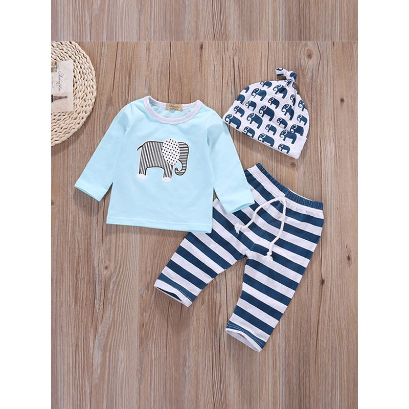 3-piece Hat Top Pants Baby Set Printed Hat Elephant Print Blue Tees Striped Trousers