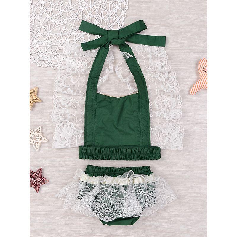 2-piece Top Panties Baby Set Sequins Lace Suspender Top Lace-trimmed Shorts