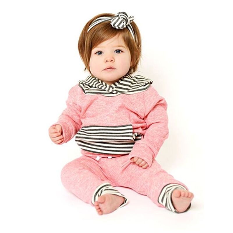 2-piece Top Pants Baby Set Striped Pocket Long Sleeves Hoodie Lace-up Splicing Trousers