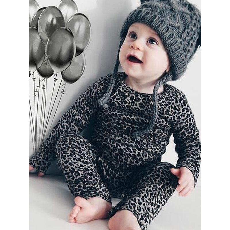 Grey Leopard Print Long Sleeves Baby Romper Jumpsuit