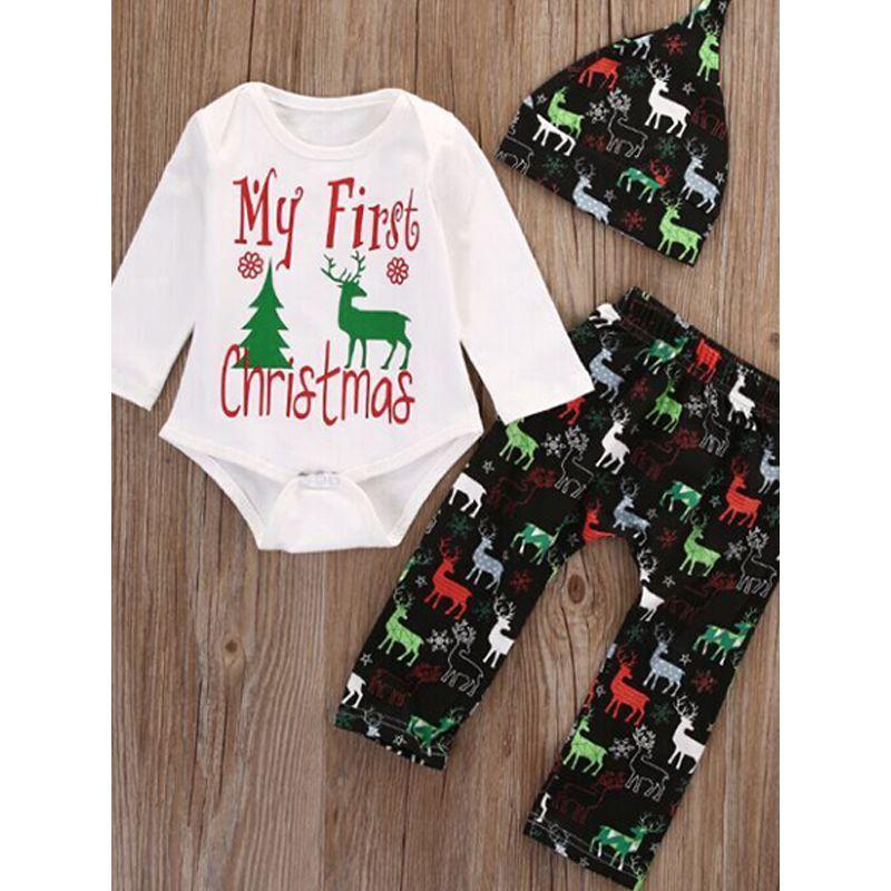 3-piece Christmas Hat Romper Pants Baby Set Letters Deer Tree Printed Romper