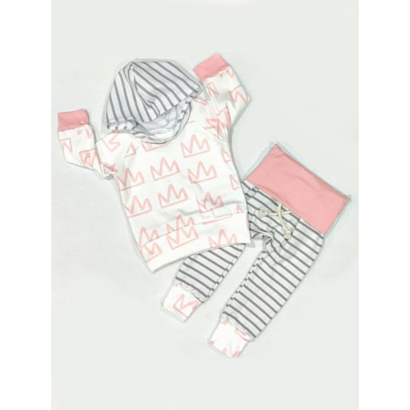 2-piece Crown Printed Stripes Hoodie Top Pants Baby Set