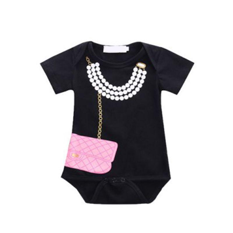 Short Sleeves Pearl Necklace Black Baby Romper Bodysuit