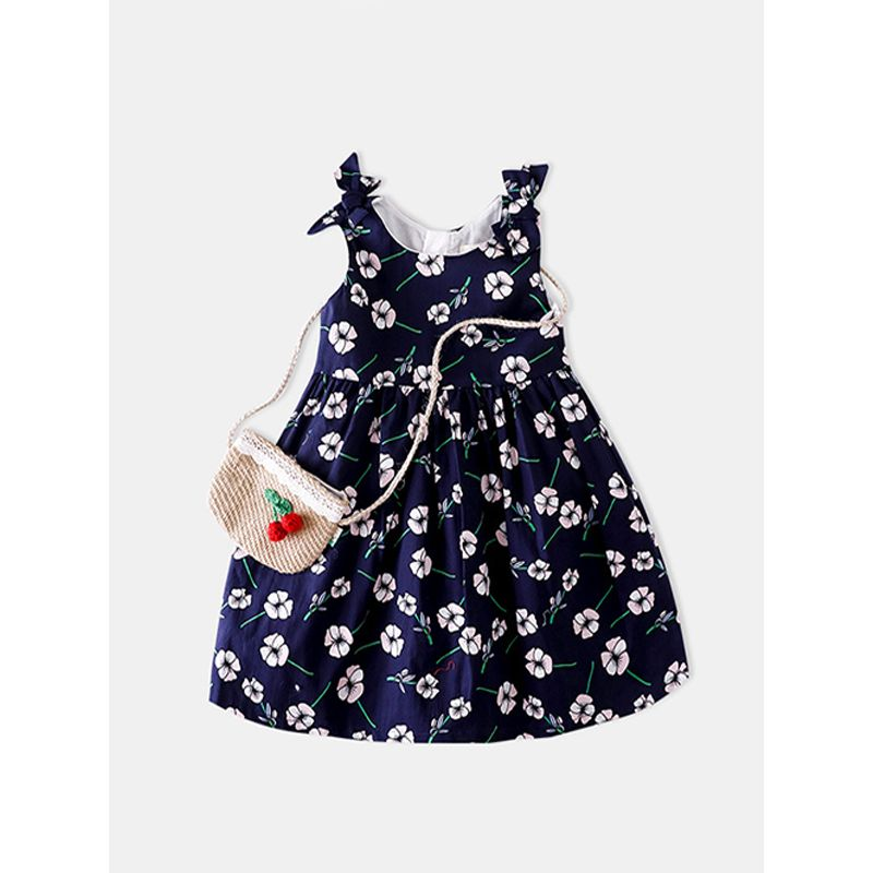 Cute Flowers Print Strapped Pleated Dress Sleeveless for Girls