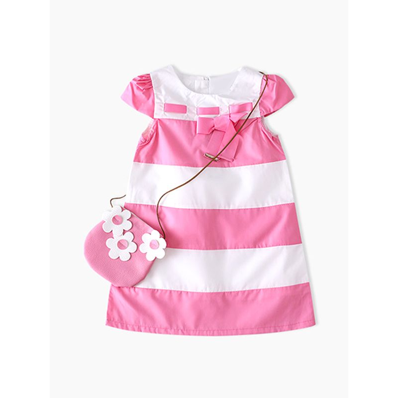 Cute Big Stripes Vest Dress Cotton Sleeveless Zip Up for Toddlers Girls