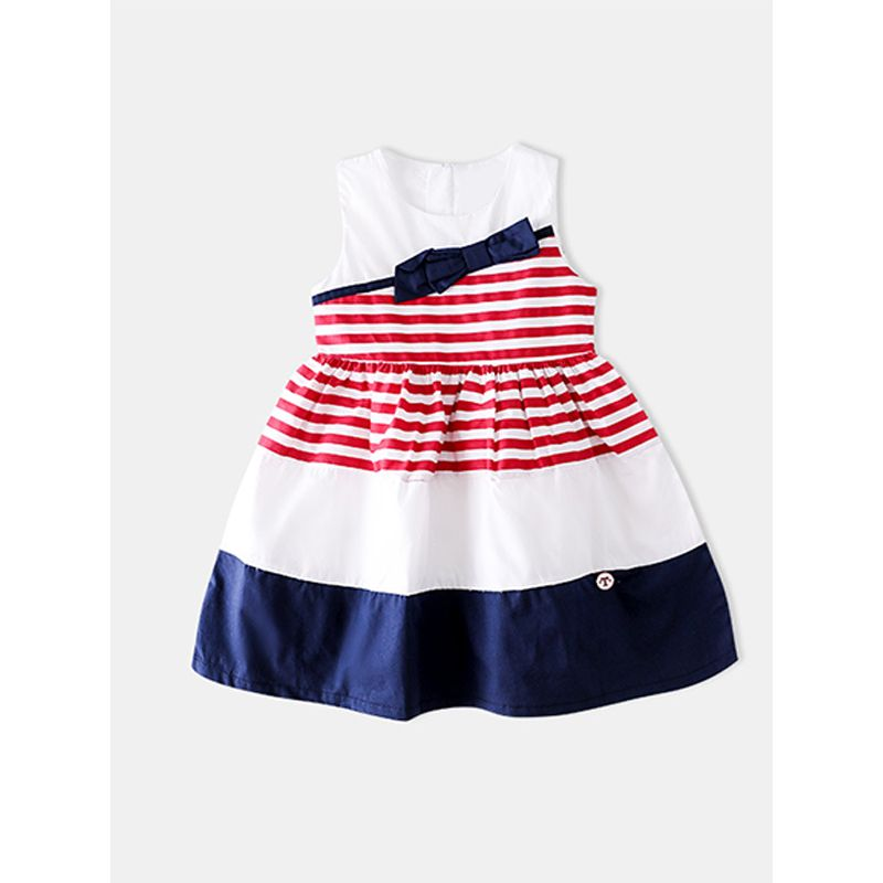 Asymmetrical Striped Vest Dress Pleated Cotton Sleeveless Zip Up for Toddlers Girls