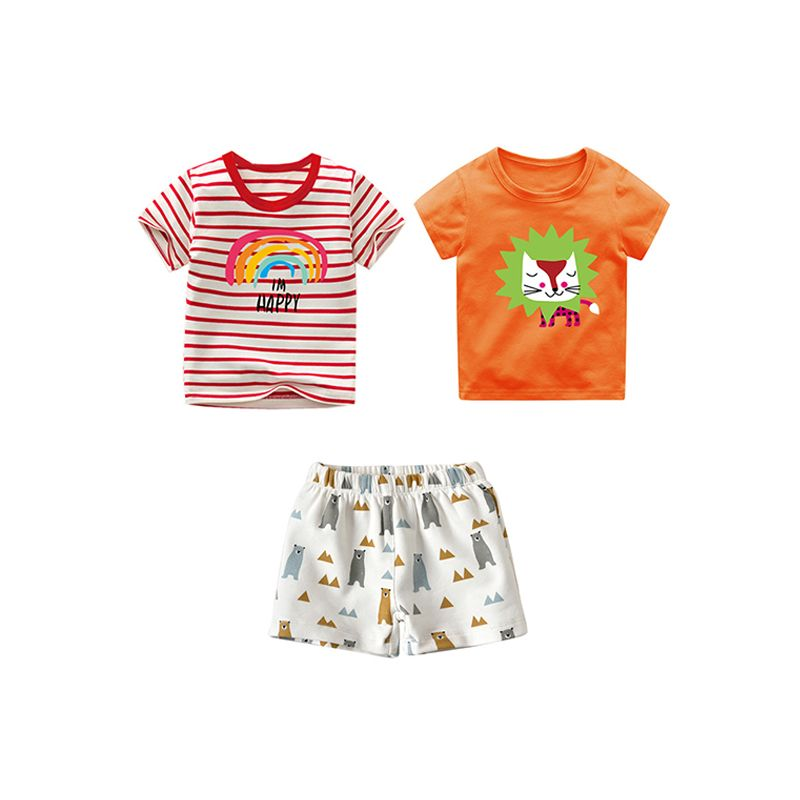 3-piece Cool Printed Tees Shorts Set Short-sleeve T-shirt Top for Baby Toddler Boys