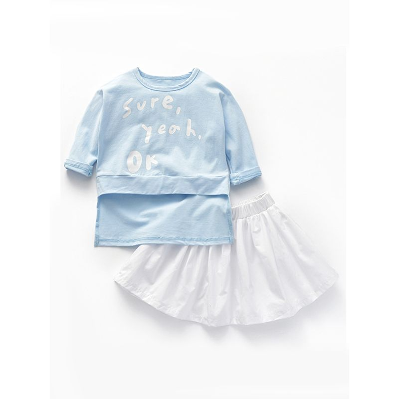 2-pieces Cute Printed Tee Skirt Long-sleeve T-shirt Top Set for Baby Toddler Girls
