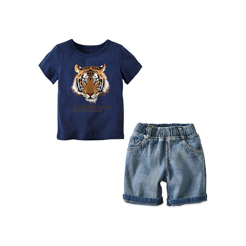 cb0f4ffa9 2-piece Cool Tiger Tee Denim Shorts Set Short-sleeve T-shirt Top