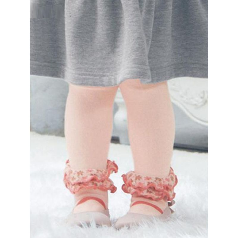 Floral Print Stringy Selvedge Princess Pantihose Baby Toddler Cotton Antiskid Stockings