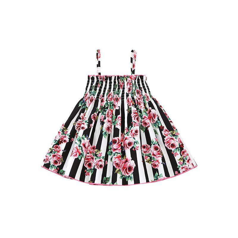 Floral Print Black White Stripes Suspender Baby Toddler Girls Dress