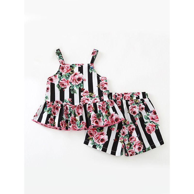 2-piece Top Shorts Girls Set Stripes Rose Flowers Print For Toddler Girls