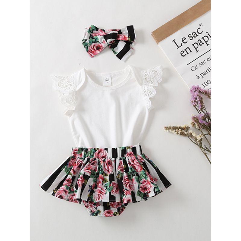 3-piece Headband Top Panties Baby Girls Set Toddler Cap Sleeves Tshirt Floral Print Shorts