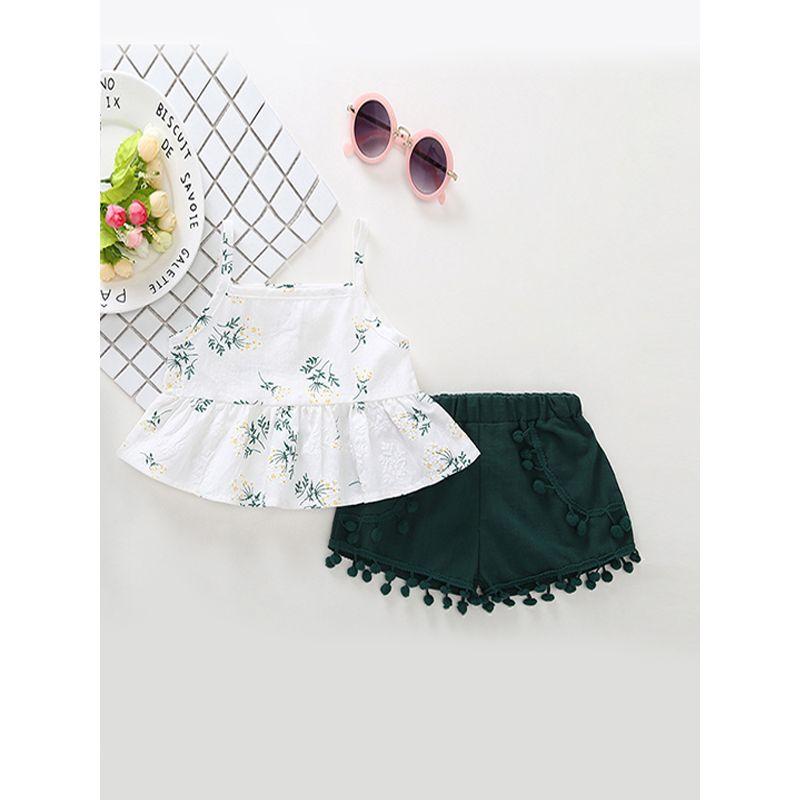 2-piece Top Shorts Girls Set Floral Print Toddler Suspender Dress Venonat Shorts