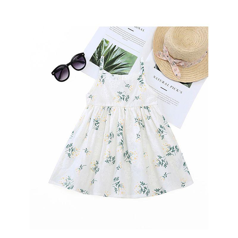 Floral Print Sleeveless Suspender Dress For Baby Toddler Girls