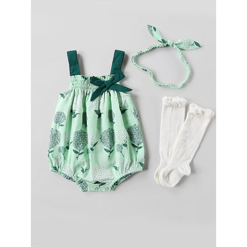 Flowers Strapped Green Romper Bowknot with Head band for Baby Girls