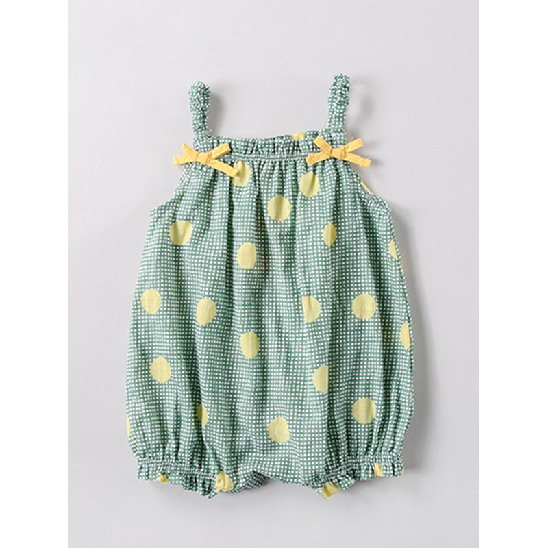 Plaid Dots Print Strapped Romper Bodysuit for Baby Girls Boys