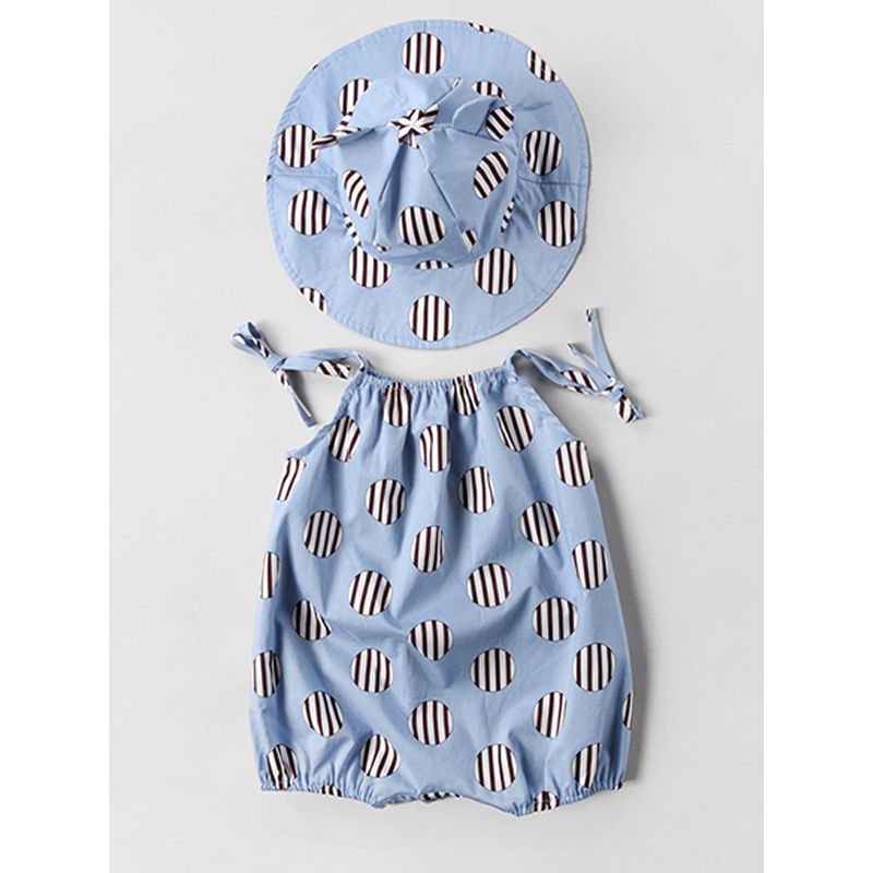 Dots Print Strapped Blue Romper with Hat for Baby Girls Boys