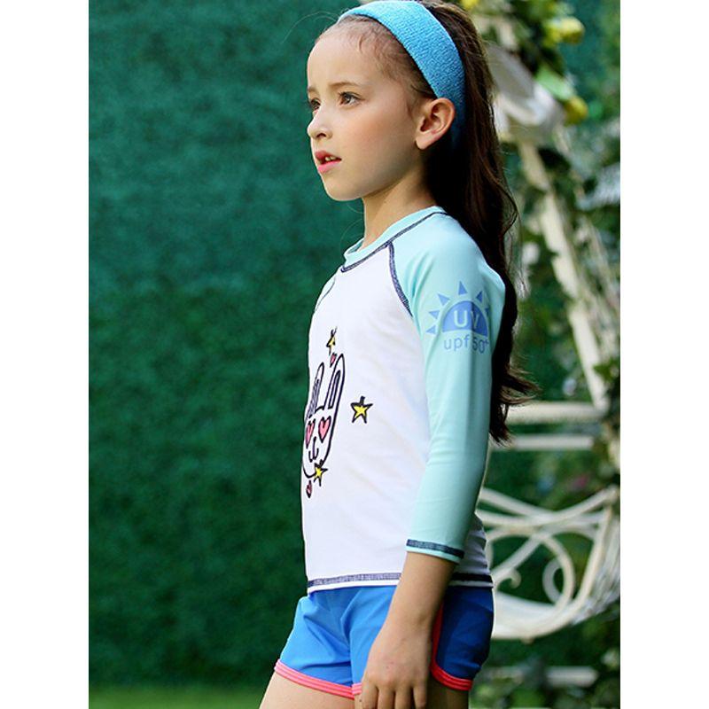 3-piece Hat Top Shorts Toddler Girls Swimsuit Set Cute Rabbit Print T-shirt