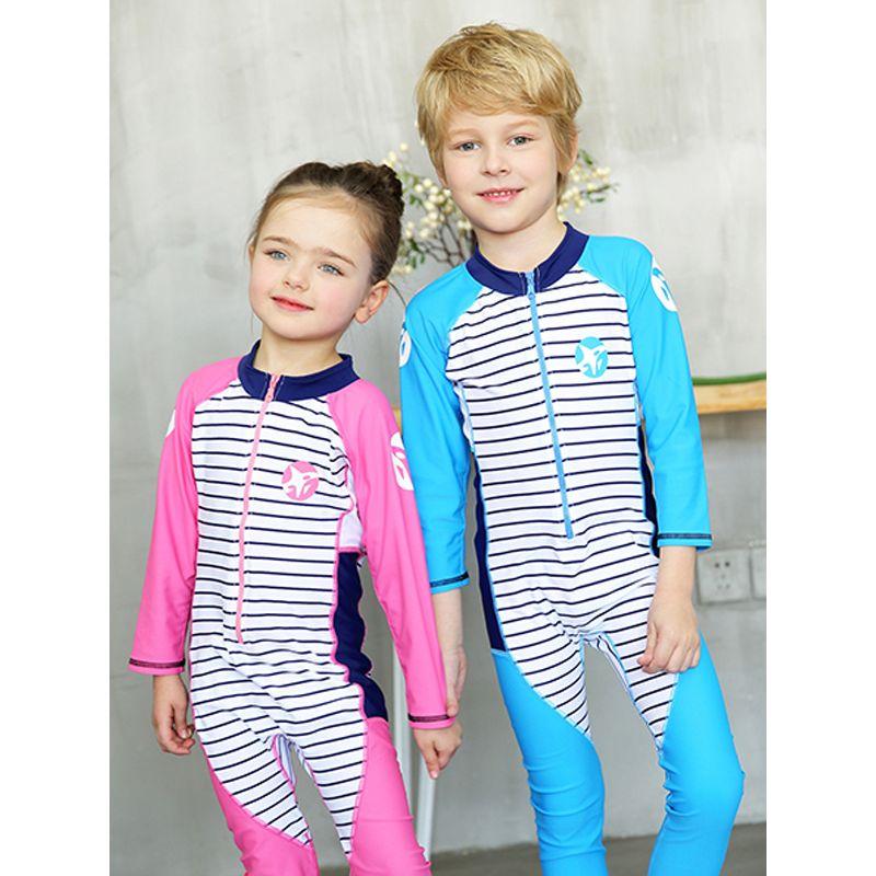2-piece Hat Onesies Swimwear Toddler Set Zippered Striped Toddler Swimsuit