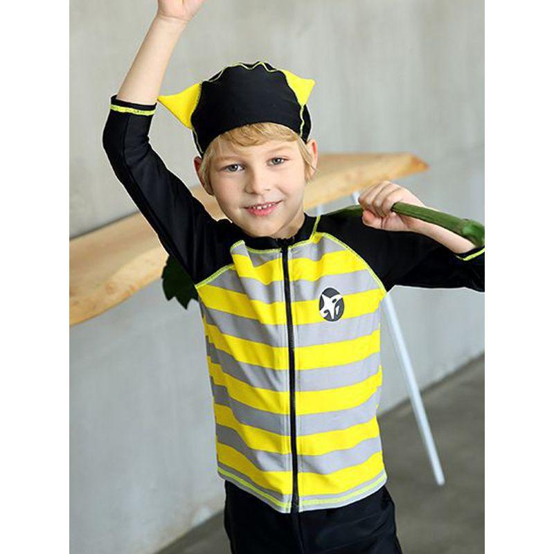 2-piece Split Type Kids Swimsuit Set Long Sleeves Striped Toddler Swimwear