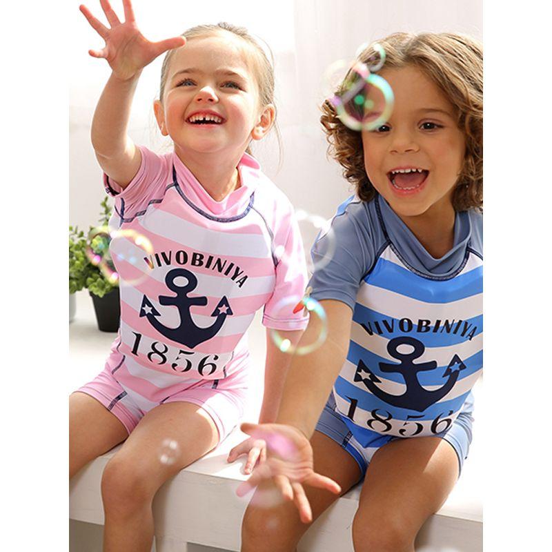 Biniya Letters Cartoon Print Kids Swimwear Toddler Boys Girls Buoyancy Swimsuit