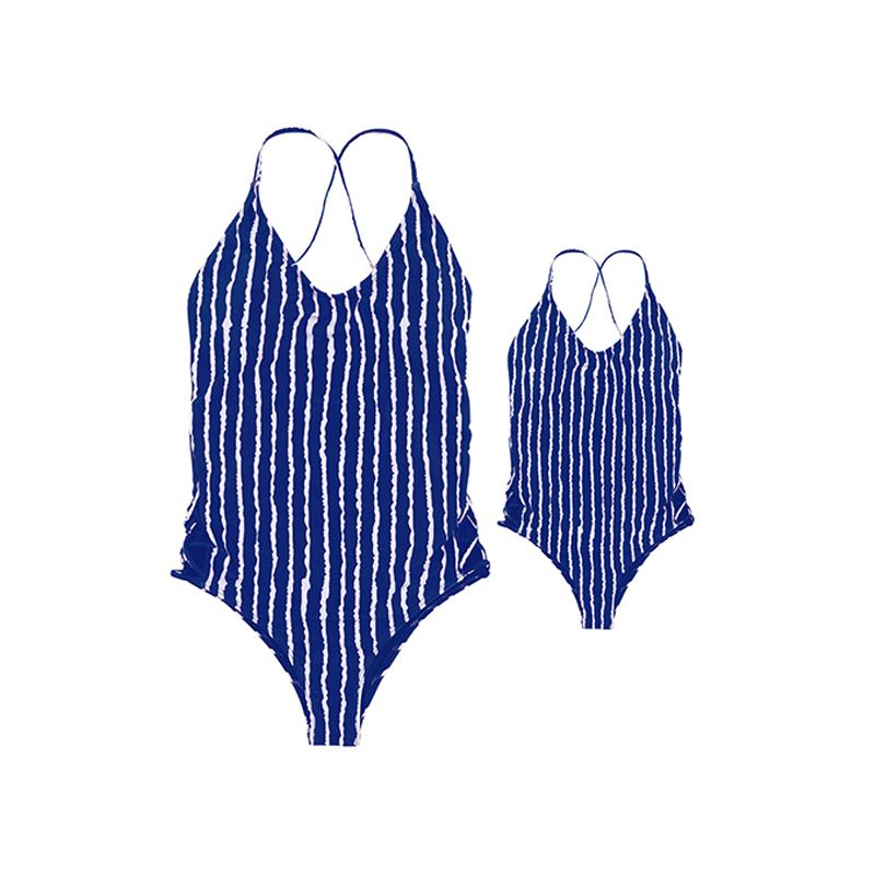 MOMMY AND ME Cute Striped Backless Strapped Girls Swimsuit Family Matching Outfit