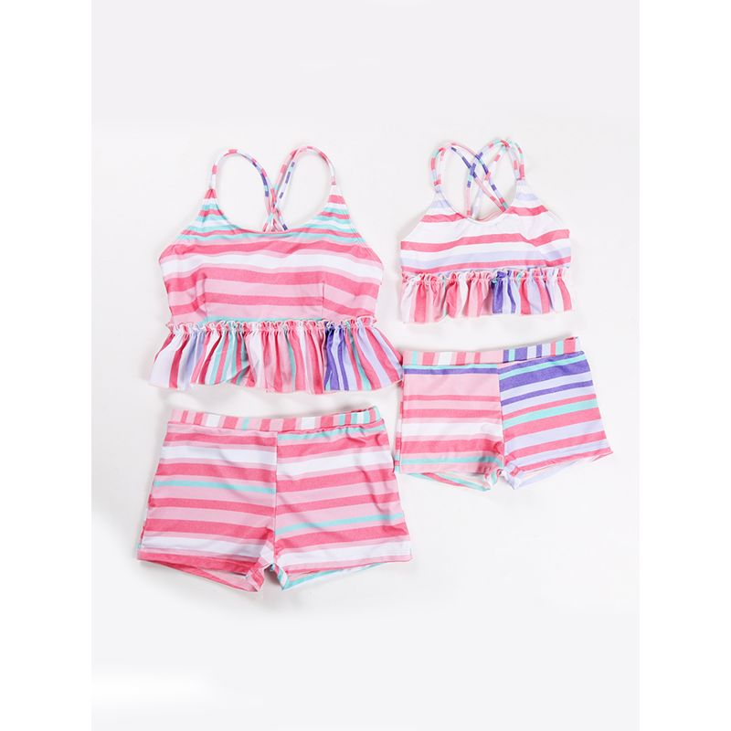 2-piece MOMMY AND ME Onesies Swimsuit Colorful Stripes Girls Family Matching Swimwear