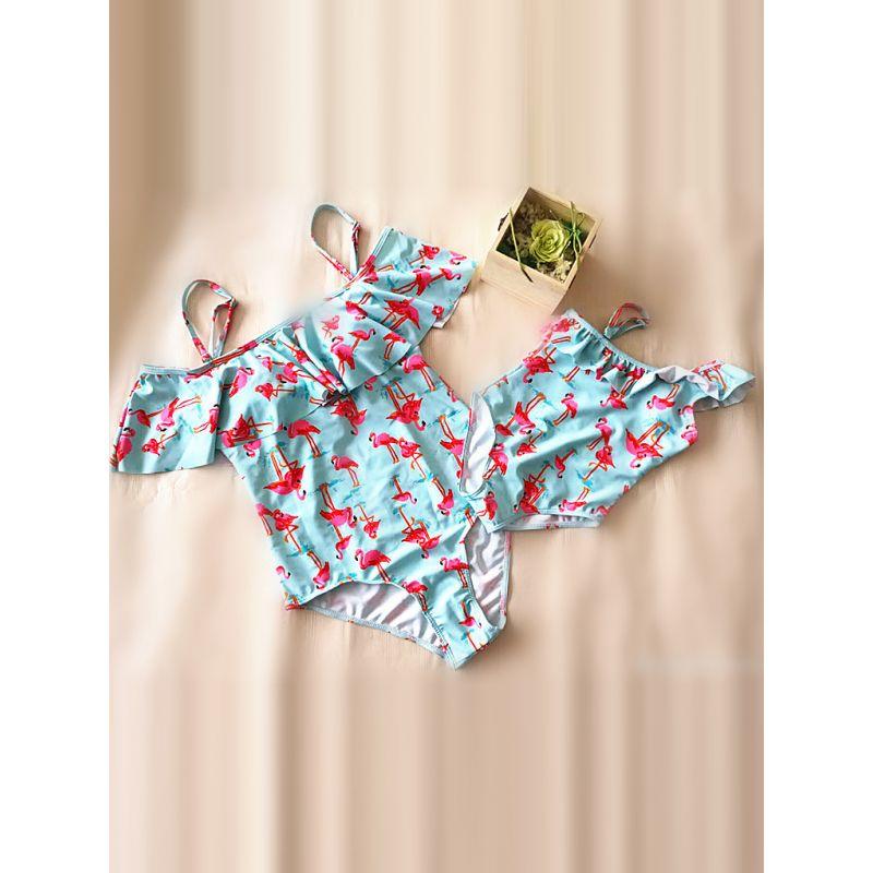 MOMMY AND ME Flamingos Print Bikini Swimwear Strapped for Moms Girls