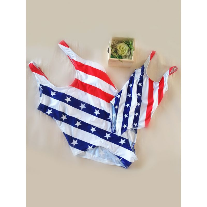 MOMMY AND ME 4th of July Bikini Swimwear Stars Stripes Strapped for Moms Girls US Independence Day