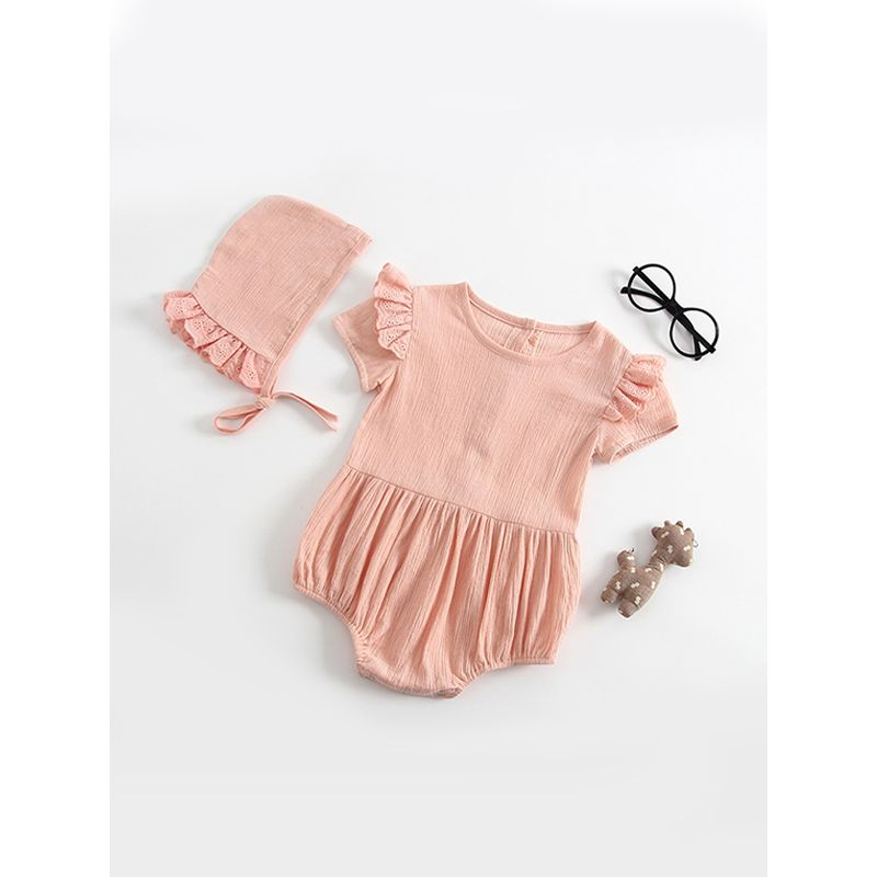 2-piece Breathable Romper Hat Set Solid Color Buttoned Bodysuit for Baby Girls