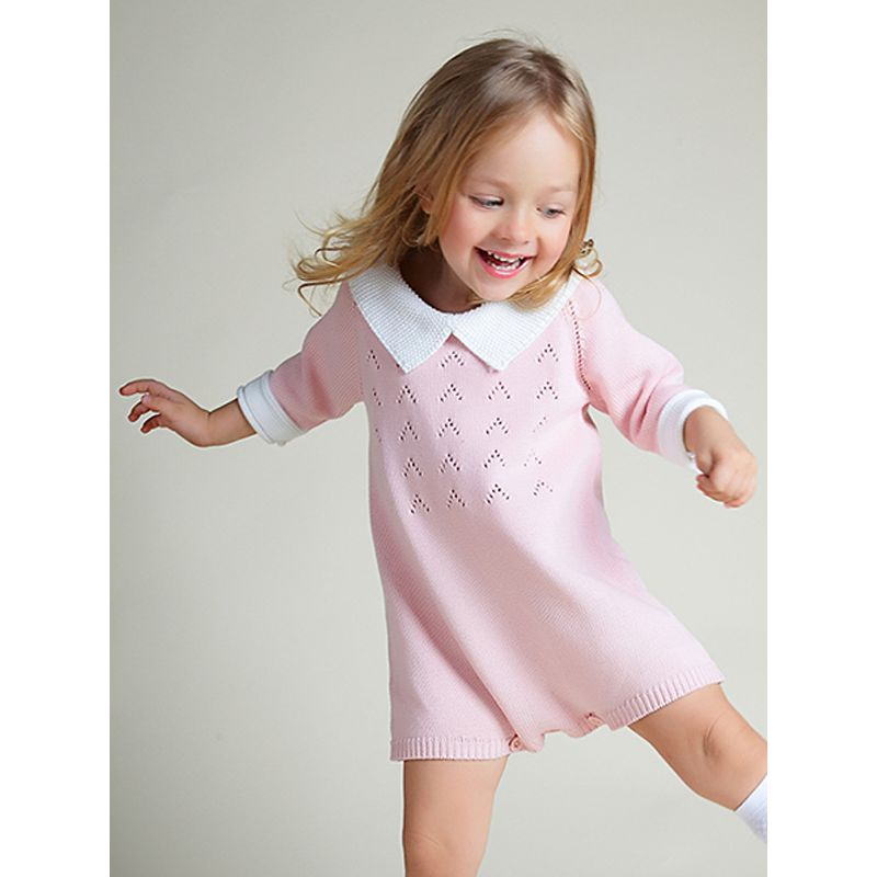 Cute Solid Color Knitted Romper for Baby Toddler Boys Girls Peter Pan Collar Autumn Winter