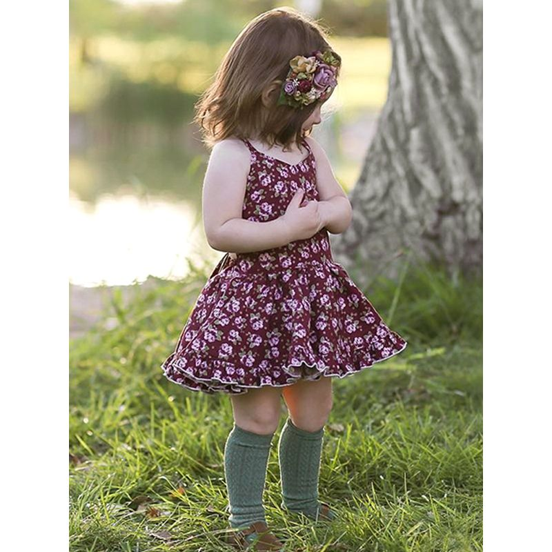 Flowers Strapped Backless Dress Pleated Breathable for Baby Toddler Girls