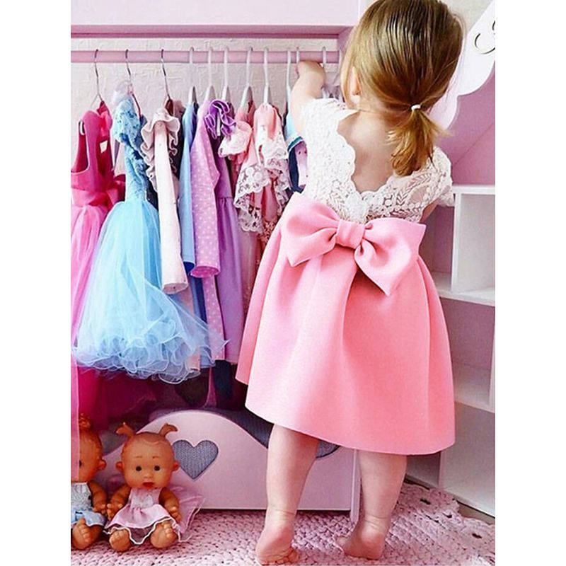 Pierced Laced Bow Princess Dress Solid Color Pleated Breathable for Baby Toddler Girls