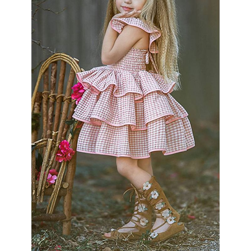 Cute Pink Backless Gingham Tutu Princess Dress Layered Pleated Breathable for Baby Toddler Girls