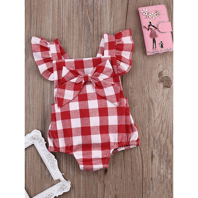 2-piece Red Plaid Headband Romper Baby Set Cap Sleeves Cotton Romper