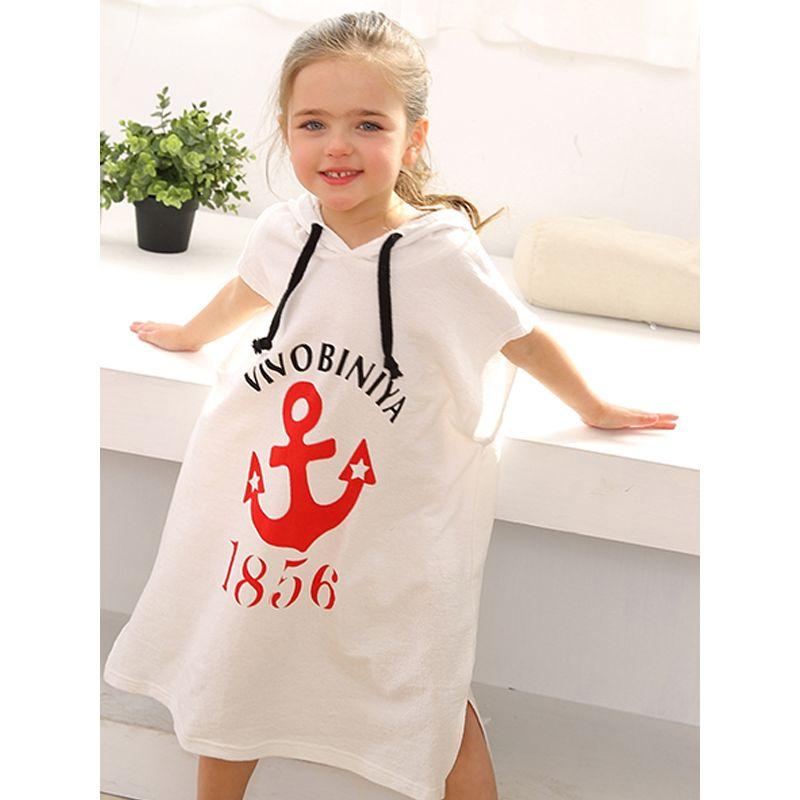 Letters Numbers Anchor Print Sun-proof Hoodie Beach Towel Toddlers Kids Clothing
