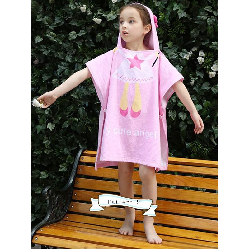 Cute Cartoon Print Hoodie Baby Toddler Beach Towel Hot Spring Hot Spring Products