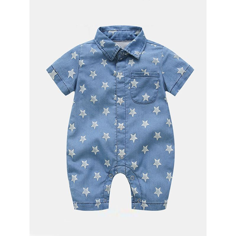 Cool Denim Breathable Romper Short-sleeve Jumpsuit Cowboy for Baby Boys