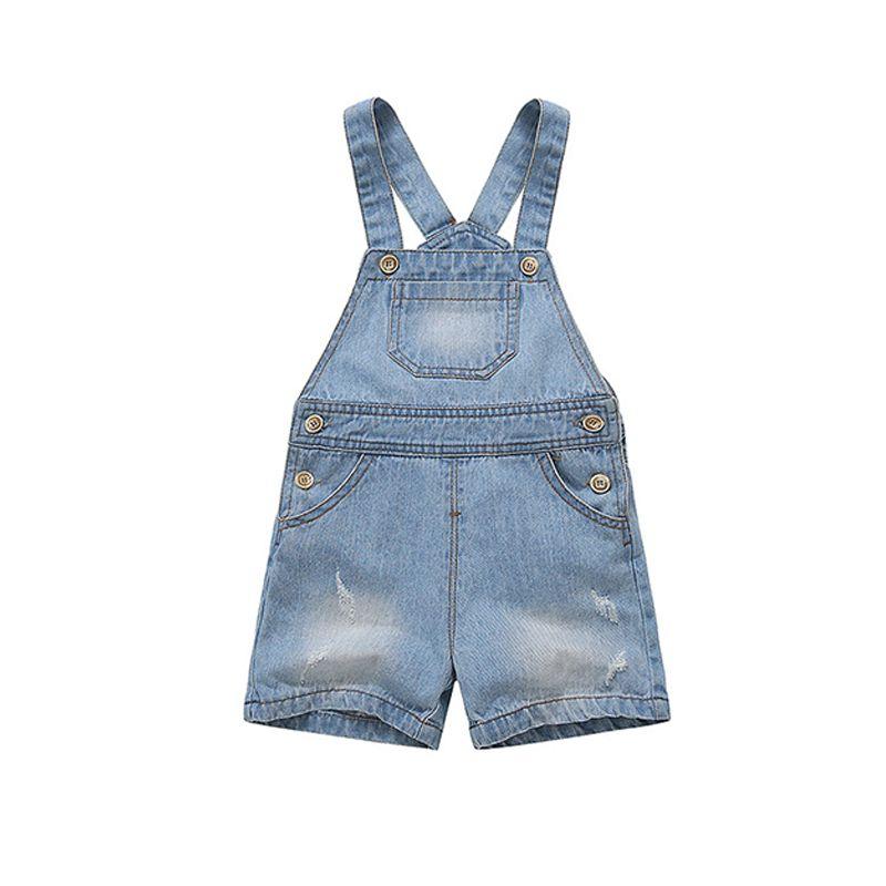 Denim Strapped Overalls Shorts Pockets for Baby Toddler Girls Boys Summer
