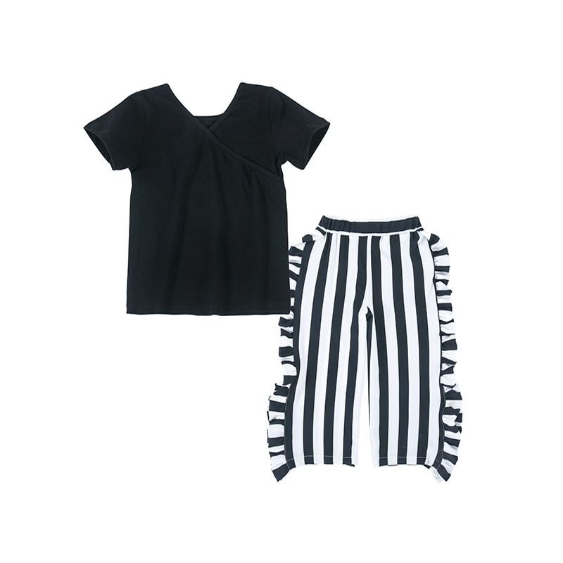 2-piece Top Pants Little Girls Set Short Sleeves Black Tees Black and White Stripes Trousers