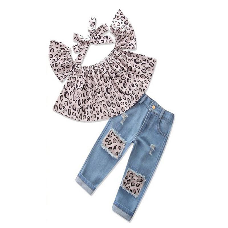 2-piece Leopard Print Top Jeans Little Girls Set Cap Sleeves Strapped Top Broken Holes Denim Pants