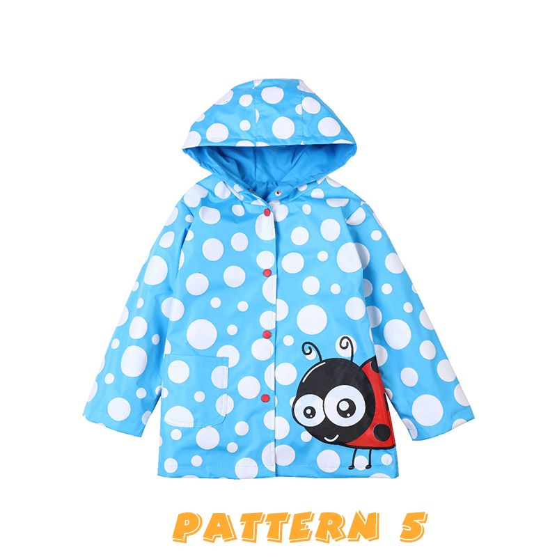 Cute Cartoon Print Splicing Windproof Rainproof Little Girls Hoodie Coat