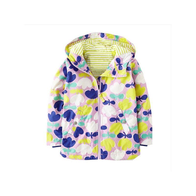 Floral Print Windproof Long Sleeves Little Girls Interchange Jacket Hoodie Coat
