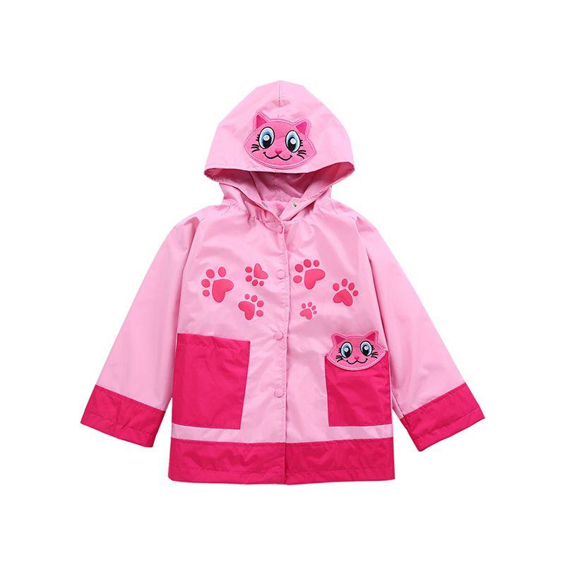Cute Cartoon Print Long Sleeves Little Girls Interchange Jacket Hoodie Coat