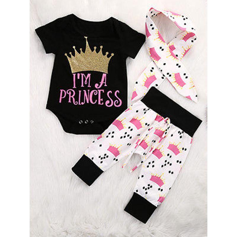 3-piece Crown Print Headband Romper Pants Baby Set Letters Print Bodysuit